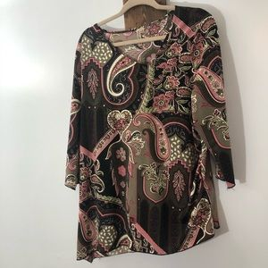 Faux wrap asymmetrical blouse by S Lawrence 1X